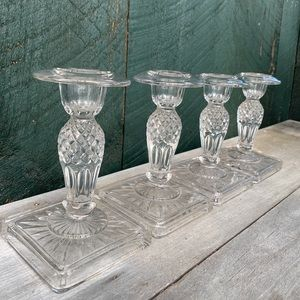 Vintage | Set of 4 Pressed Glass Candle Holders